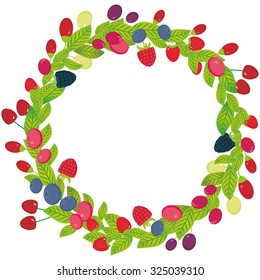Round wreath with Cherry Strawberry Raspberry Blackberry Blueberry Cranberry Cowberry Goji Grape  Fresh juicy berries on white background. Vector