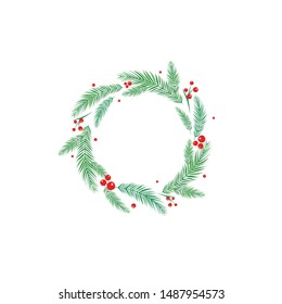 Round wreath with fir tree or spruce twigs and red berries. winter holiday garland. Good for Christmas or Thanksgiving greeting cards. Vector illustration.