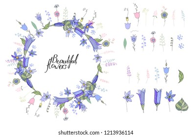 Round wreath made of blue bells. Template for spring and summer greeting cards