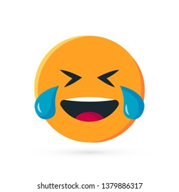 Round yellow emoji. Simple vector illustration of a laughing emoticon with tears of joy for chats in flat style
