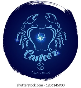 Round zodiac sign Cancer.Vector illustration with hand drawn image and  lettering, part of collection