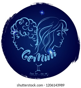 Round zodiac sign Gemini.Vector illustration with hand drawn image and  lettering, part of collection