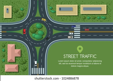 Roundabout road junction and city transport, vector flat illustration. City road, cars, crosswalk, trees and house top view. Street traffic, automobiles and transport design elements.