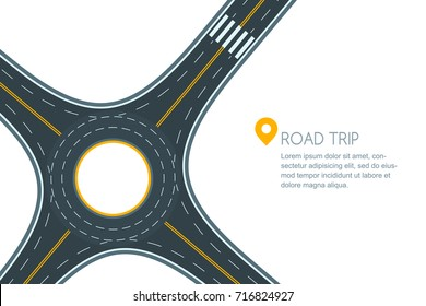 Roundabout road junction, isolated on white background. Vector flat style illustration with copy space. Empty asphalt crossroad with marking. Street traffic and transport design template.