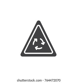 Roundabout warning traffic signs icon vector, filled flat sign, solid pictogram isolated on white. Symbol, logo illustration.