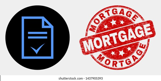 Rounded agreement page icon and Mortgage stamp. Red rounded distress seal stamp with Mortgage caption. Blue agreement page icon on black circle. Vector combination for agreement page in flat style.