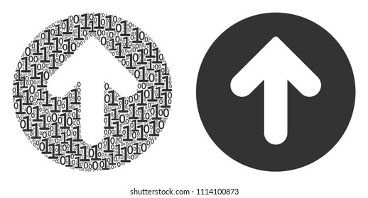 Rounded arrow composition icon of zero and null digits in various sizes. Vector digital symbols are grouped into rounded arrow mosaic design concept.