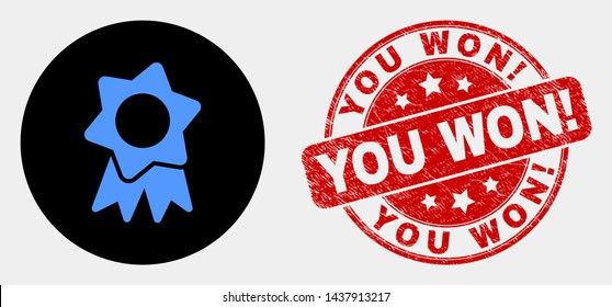 Rounded award badge pictogram and You Won! seal stamp. Red rounded textured seal stamp with You Won! caption. Blue award badge symbol on black circle. Vector composition for award badge in flat style.
