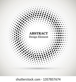 Rounded border icon. Isolated halftone circle dots vector texture.Halftone dotted background circularly distributed. Circle dots isolated on the white background.Border logo icon.
