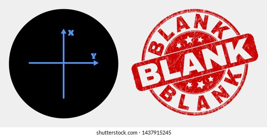 Rounded Cartesian axes icon and Blank watermark. Red rounded scratched watermark with Blank caption. Blue Cartesian axes icon on black circle. Vector composition for Cartesian axes in flat style.