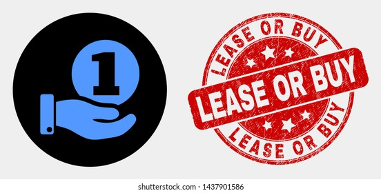 Rounded coin donation hand icon and Lease or Buy watermark. Red rounded scratched watermark with Lease or Buy text. Blue coin donation hand icon on black circle.