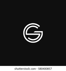 Rounded connected stylish black and white SG GS initial based icon logo
