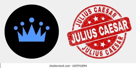 Rounded crown pictogram and Julius Caesar stamp. Red rounded grunge seal stamp with Julius Caesar text. Blue crown symbol on black circle. Vector combination for crown in flat style.
