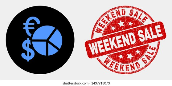 Rounded currency pie chart icon and Weekend Sale watermark. Red rounded textured watermark with Weekend Sale caption. Blue currency pie chart icon on black circle.