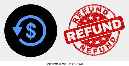Rounded dollar refund icon and Refund watermark. Red rounded scratched watermark with Refund text. Blue dollar refund icon on black circle. Vector combination in flat style.