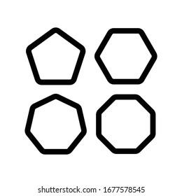 rounded edge pentagon symbol  hexagon  hexagon  octagon. Design vector template