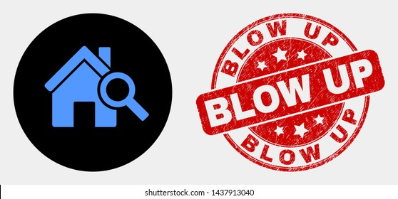 Rounded explore realty icon and Blow Up stamp. Red rounded textured stamp with Blow Up text. Blue explore realty icon on black circle. Vector composition for explore realty in flat style.