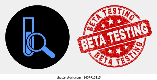 Rounded explore test-tube icon and Beta Testing seal stamp. Red rounded scratched seal stamp with Beta Testing text. Blue explore test-tube icon on black circle.