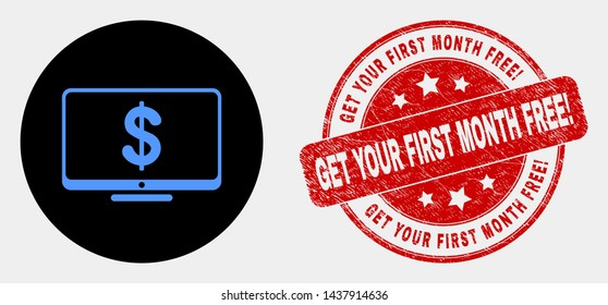 Rounded financial display icon and Get Your First Month Free! seal. Red rounded grunge seal stamp with Get Your First Month Free! caption. Blue financial display icon on black circle.