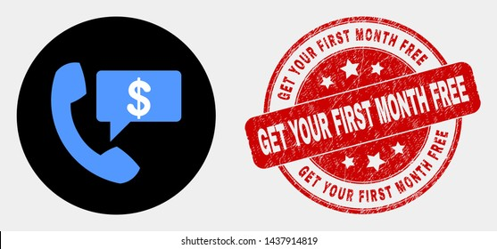 Rounded financial phone message icon and Get Your First Month Free seal. Red round grunge seal with Get Your First Month Free text. Blue financial phone message icon on black circle.