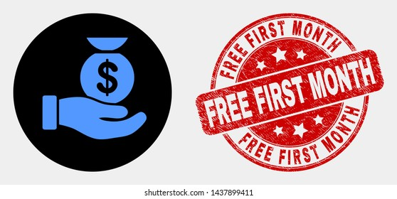 Rounded financial service hand icon and Free First Month seal. Red rounded grunge seal with Free First Month caption. Blue financial service hand symbol on black circle.
