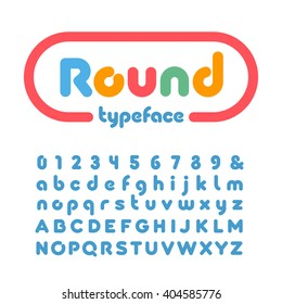 Rounded font. Vector alphabet with donut effect letters and numbers.