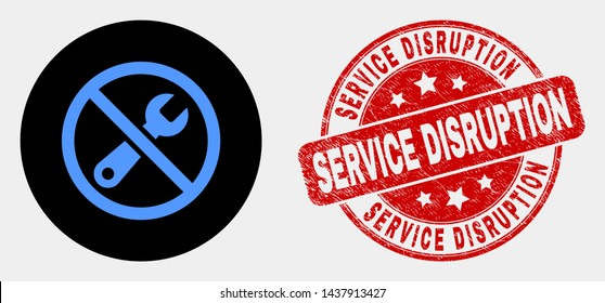 Rounded forbidden repair icon and Service Disruption stamp. Red rounded distress watermark with Service Disruption text. Blue forbidden repair icon on black circle.