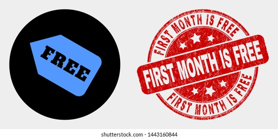 Rounded free tag icon and First Month Is Free seal stamp. Red round scratched seal stamp with First Month Is Free text. Blue free tag icon on black circle. Vector composition in flat style.