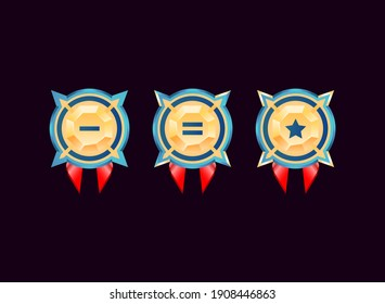 rounded game ui glossy golden diamond rank badge medals