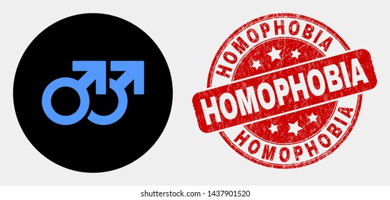 Rounded gay pair symbol icon and Homophobia seal stamp. Red rounded textured seal with Homophobia text. Blue gay pair symbol icon on black circle. Vector combination for gay pair symbol in flat style.
