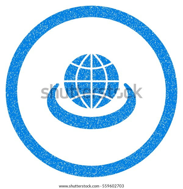 Rounded Global Network rubber seal stamp watermark. Icon symbol inside circle with grunge design and dust texture. Unclean vector blue emblem.