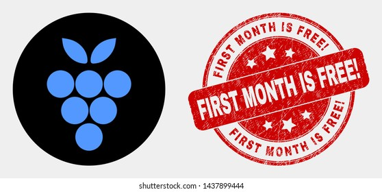 Rounded grape berry icon and First Month Is Free! seal. Red rounded textured seal with First Month Is Free! caption. Blue grape berry icon on black circle.