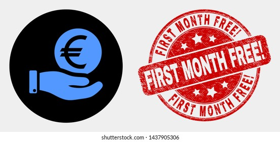 Rounded hand offer euro coin icon and First Month Free! watermark. Red round textured watermark with First Month Free! caption. Blue hand offer euro coin icon on black circle.