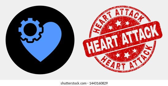 Rounded heart gear pictogram and Heart Attack seal stamp. Red rounded textured seal stamp with Heart Attack caption. Blue heart gear symbol on black circle. Vector composition in flat style.