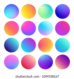 Rounded holographic gradient sphere button. Multicolor green purple yellow orange pink cyan fluid circle gradients, colorful soft round buttons or vivid color spheres flat vector set