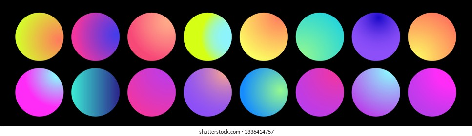Rounded holographic gradient sphere. Multicolor green purple yellow orange pink cyan fluid circle gradients, colorful soft round buttons or vivid color spheres flat set. Vector illustration 10 eps.