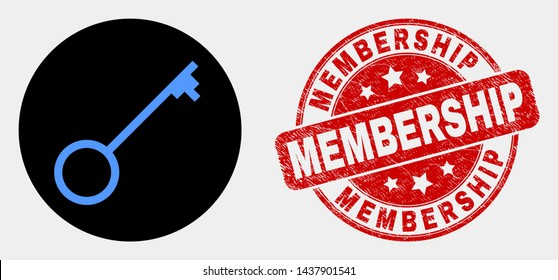 Rounded key icon and Membership stamp. Red rounded textured stamp with Membership caption. Blue key icon on black circle. Vector combination for key in flat style.