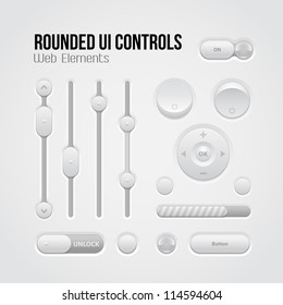 Rounded Light UI Controls Web Elements: Buttons, Switchers, On, Off, Player, Audio, Video: Player, Volume, Equalizer, Slider, Loader, Progress Bar, Bulb, Unlock