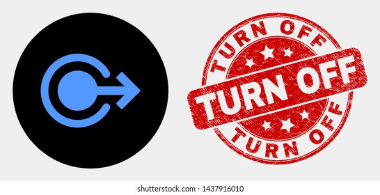 Rounded logout icon and Turn Off seal. Red rounded distress stamp with Turn Off text. Blue logout icon on black circle. Vector combination for logout in flat style.