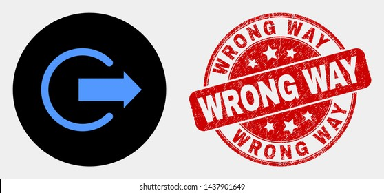 Rounded logout icon and Wrong Way stamp. Red rounded scratched stamp with Wrong Way caption. Blue logout icon on black circle. Vector composition for logout in flat style.