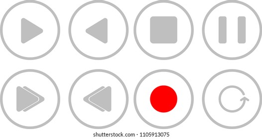 Rounded media player controls in circle shaped icons illustration vector
