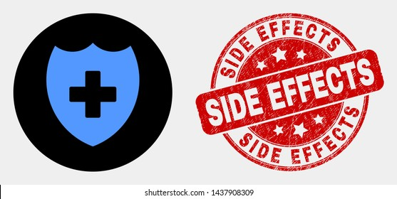 Rounded medical shield pictogram and Side Effects watermark. Red rounded distress watermark with Side Effects caption. Blue medical shield icon on black circle.