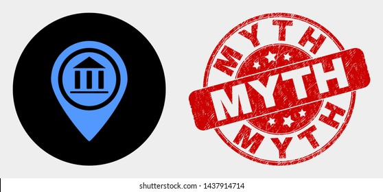 Rounded museum map marker icon and Myth seal stamp. Red rounded scratched stamp with Myth text. Blue museum map marker icon on black circle. Vector composition for museum map marker in flat style.