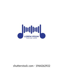 Rounded musical note with spectrum bar vector illustration. Music Visual logo concept isolated on white background. Navy blue color theme