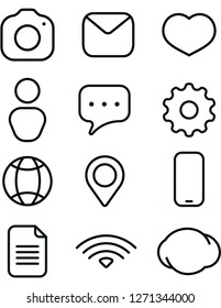 rounded outline web icons for web or printings