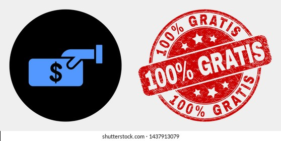 Rounded pay cash pictogram and 100% Gratis stamp. Red rounded grunge stamp with 100% Gratis text. Blue pay cash icon on black circle. Vector composition for pay cash in flat style.