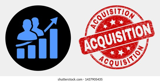 Rounded people growing chart pictogram and Acquisition seal. Red rounded grunge seal stamp with Acquisition caption. Blue people growing chart icon on black circle.