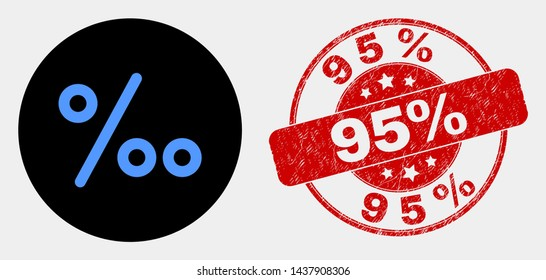 Rounded per mille icon and 95% stamp. Red rounded scratched seal stamp with 95% caption. Blue per mille icon on black circle. Vector composition for per mille in flat style.