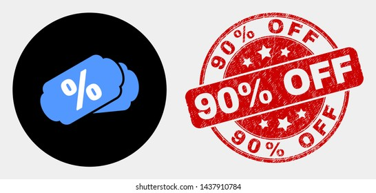 Rounded percent tags pictogram and 90% Off seal stamp. Red rounded distress seal stamp with 90% Off text. Blue percent tags symbol on black circle. Vector composition for percent tags in flat style.