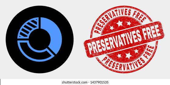 Rounded pie chart icon and Preservatives Free seal stamp. Red rounded scratched seal stamp with Preservatives Free caption. Blue pie chart symbol on black circle.